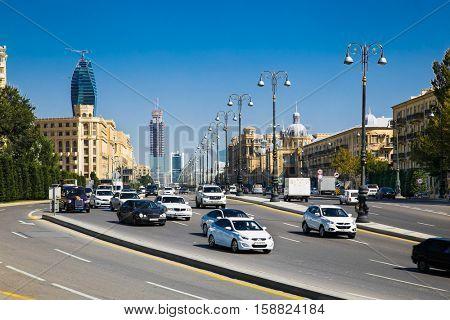 BAKU, AZERBAIJAN- OCT 4, 2016: City traffic in Baku, capital of Azerbaijan, on Oct 4, 2016. Azerbaijan.