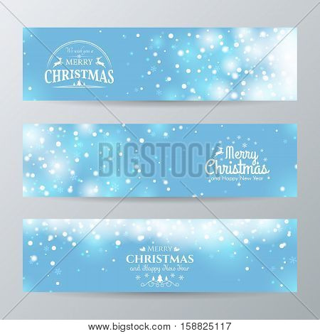 Set of Christmas horizontal banners. Vector blue background with shiny falling snow and snowflakes. File contains clipping mask.