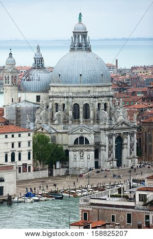 Basilica Saint Mary of Health - roman Catholic church and minor basilica located at Punta della Dogana in the Dorsoduro sestiere of the city of Venice, Italy. View from San Marco Campanile.