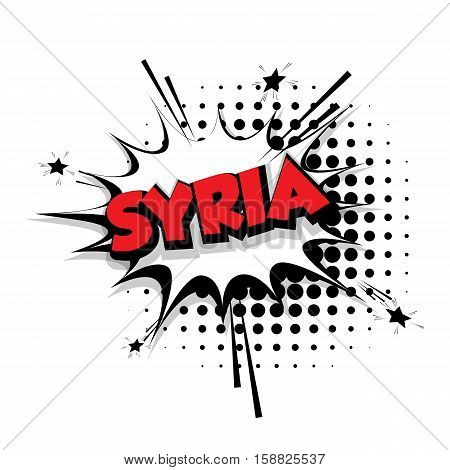 Lettering Syria Comic text sound effects pop art style vector Sound bubble speech phrase cartoon text cartoon balloon expression sounds illustration Comic text background template. Comics book balloon