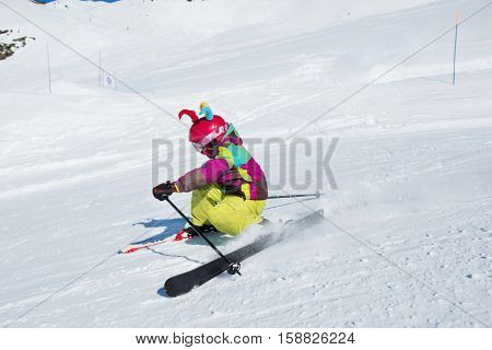 Active kid at a ski resort