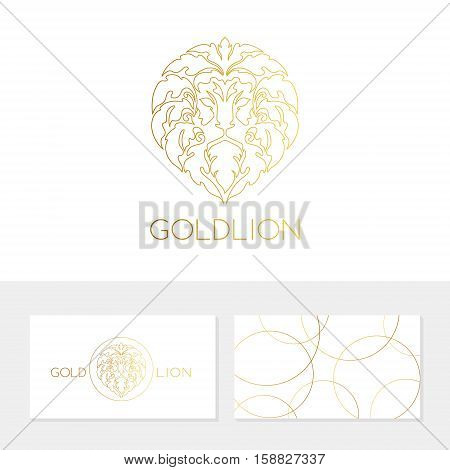 Lion logo template. Ornamental luxury emblem of lion head. Business sign identity for restaurant royalty boutique hotel heraldic jewellery fashion real estateresort law firmbank
