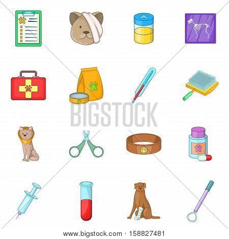 Veterinary clinic icons set. Cartoon illustration of 16 veterinary clinic vector icons for web