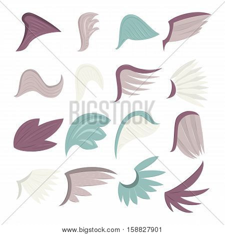 Wings icons set. Cartoon illustration of 16 wings vector icons for web