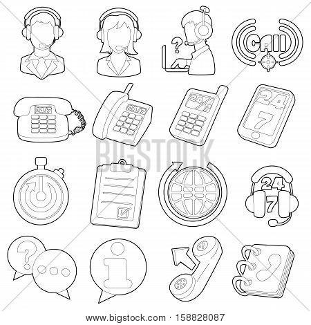 Call center items icons set. Outline cartoon illustration of 16 call center items vector icons for web