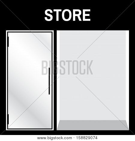 Shop front or store front view vector illustration. Store front mock up