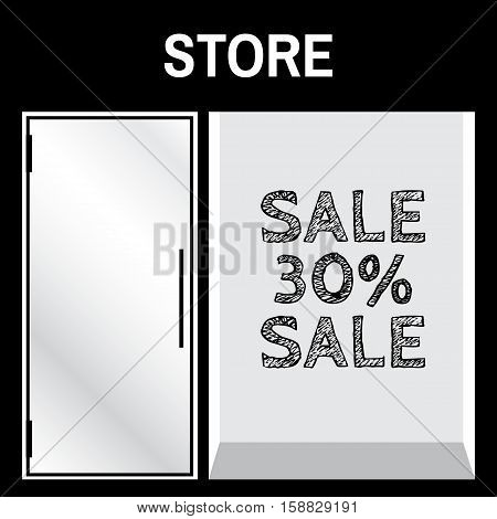 Shop front or store front view vector illustration. Store front mock up with sale sign