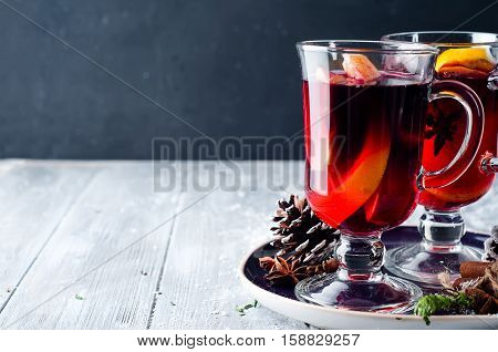 Wine And Spices On Wooden Background.