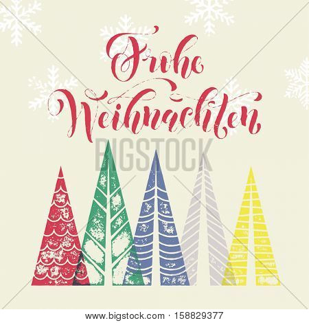Frohe Weihnachten colorful german winter holiday spanish greeting card. Merry Christmas in Germany text with Christmas tree vector calligraphic lettering. Merry Christmas modern greeting card