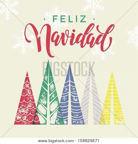 Spanish winter holidays greeting card with text Feliz Navidad, and Christmas trees forest in geometric shape. Snow snowflakes background decoration ornament. Merry Christmas vector trendy art poster