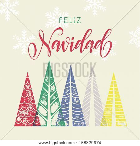 Colorful winter holiday spanish greeting card. Feliz Navidad Merry Christmas in Spain text Christmas tree vector calligraphic lettering. Merry Christmas modern greeting card with pine tree