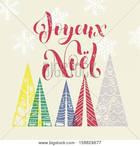 Winter background for French Christmas Joyeux greeting card. Joyeux Noel in France holiday Merry Christmas greeting card text with pine tree forest in geometric shape. Snowflakes pattern background