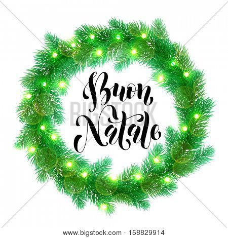 Italian Christmas calligraphy design. Buon Natale Garland decoration of Christmas lights design element. Vector wreath of pine, fir, spruce branches. Christmas tree garland greeting card decoration