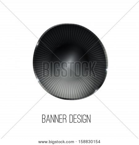 Vector glossy crystal stone banner. Black abstract geometric shape, ellipse, oval badge, blank button template with metal texture, realistic shadow, light background for banners, interfaces, UI, applications, apps. Vector illustration.