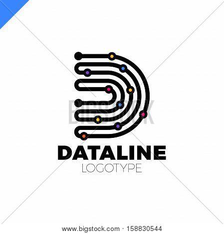 Letter D Logo Design Template,technology Abstract Dot Connection Cross Vector Logo Icon Circle Logot