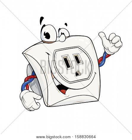 Electric power socket USA type. Outlet cartoon character show OK. Energy element. Good switch. American Electricity. Isolated white background. Illustration