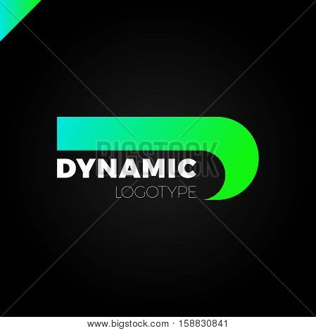 Dynamic Letter D Logo In Negative Space Icon Design Template Elements