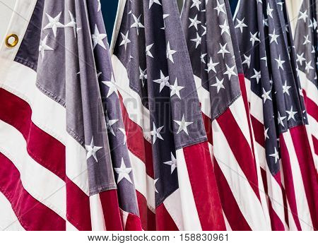 Historic American flags - red, white and blue with stars and stripes