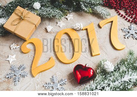 tree toys and branch of fir top view 2017 new year