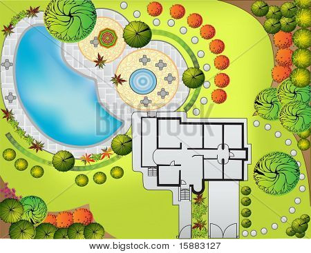 Plan of Landscape and Garden with swimmingpool
