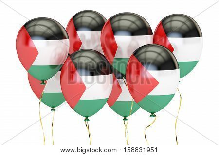 Balloons with flag of Palestine holyday concept. 3D rendering isolated on white background
