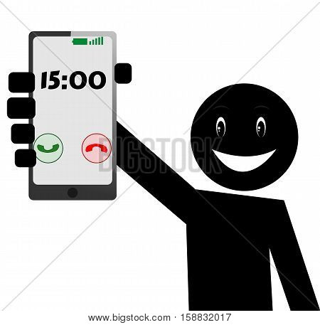 Stick Figure, Pictogram Icon, Smile, Happy Man with Mobile, Black and White