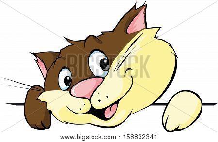 cute brown cat peeking - vector illustration