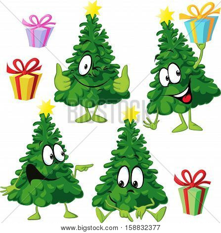 funny xmas tree with hand and face - vector illustration drawing cartoon