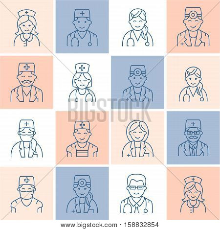 Cute vector line icon of doctor. Hospital, clinic linear logo. Outline doctor sign - surgeon, cardiologist, dentist, therapist, physician, nurse. Design element for site, medical business logotype