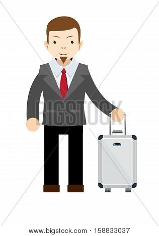 Businessman or manager with a suitcase . Stock vector illustration