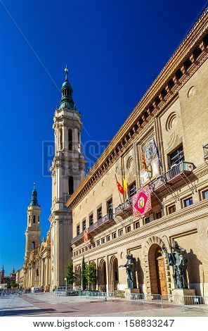 The City Hall and the Basilica of Zaragoza - Spain, Aragon