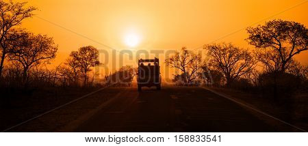 Silhouette of safari vehicle on the brow of a hill at sunset, with golden sunlight and silhouettes of trees. Kruger National Park, South Africa.