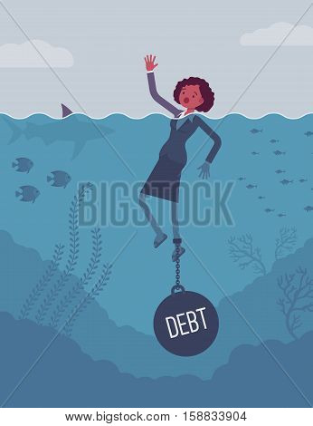Businesswoman drowning chained with a weight Debt, business owner having money problems, poor family debt management plan, increased monthly payments. Cartoon flat-style concept illustration
