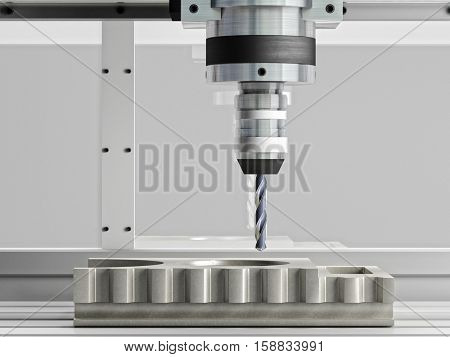cnc machine in action 3d rendering