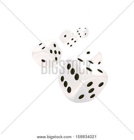 classic dice 3d rendering on white