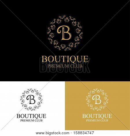 Monogram emblem in dark light and gold color variants. Heraldic logo in classic style. Vector illustration of letter sign in ornamental frame. Elegant design element graceful template.
