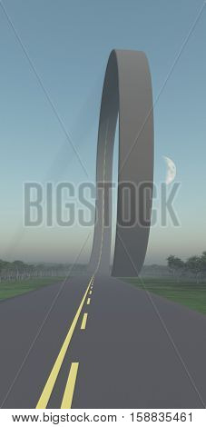 Road loop.   3D Render  Some elements provided courtesy of NASA