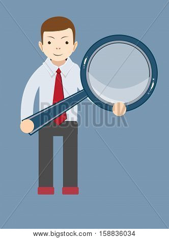 Vector illustration of a cartoon businessman with a magnifying glass in his hands