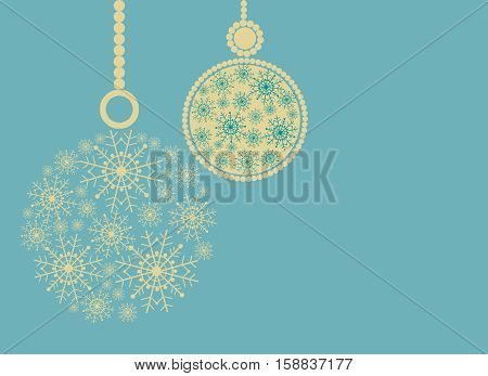 Christmas composition with yellow balls and space for text. Blue background.Illustration