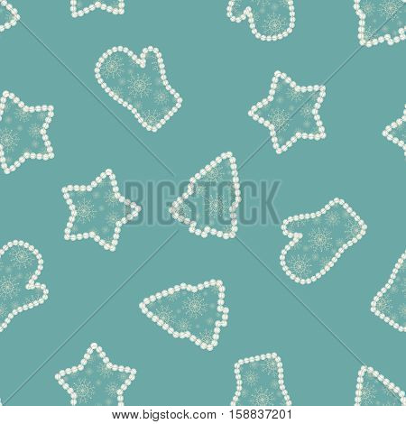 Seamless open work blue pattern from christmas trees,stars and mittens