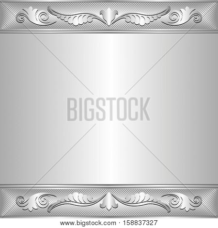 silver background with vintage ornament - vector illustration
