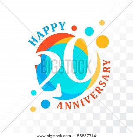 20th Anniversary emblem. Vector template for anniversary birthday and jubilee