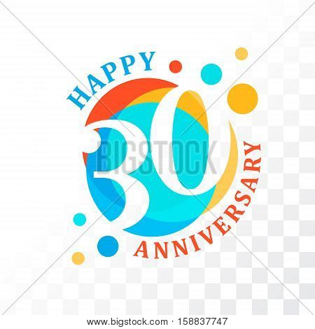 30th Anniversary emblem. Vector template for anniversary birthday and jubilee