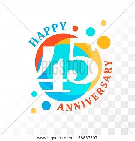 45th Anniversary emblem. Vector template for anniversary birthday and jubilee