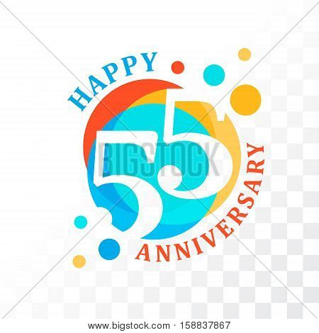 55th Anniversary emblem. Vector template for anniversary birthday and jubilee