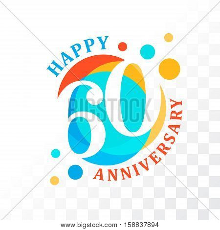 60th Anniversary emblem. Vector template for anniversary birthday and jubilee