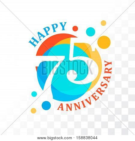 75th Anniversary emblem. Vector template for anniversary birthday and jubilee