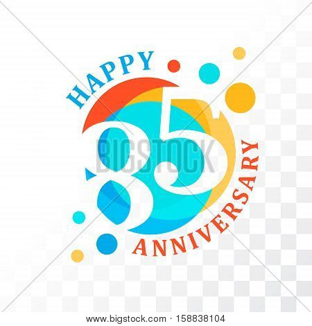 85th Anniversary emblem. Vector template for anniversary birthday and jubilee
