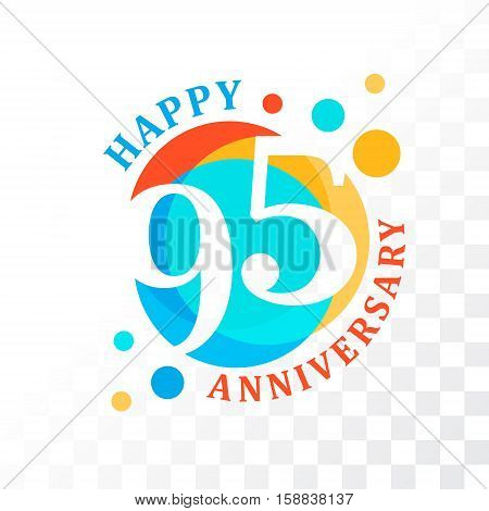 95th Anniversary emblem. Vector template for anniversary birthday and jubilee
