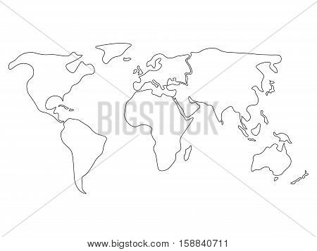 World map divided to six continents in black - North America, South America, Africa, Europe, Asia and Australia Oceania. Simplified black outline of blank vector map without labels.